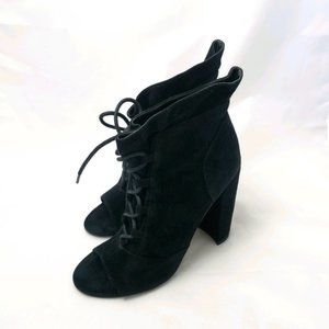Nine West Beatongd Lace Up Suede Booties Black 7